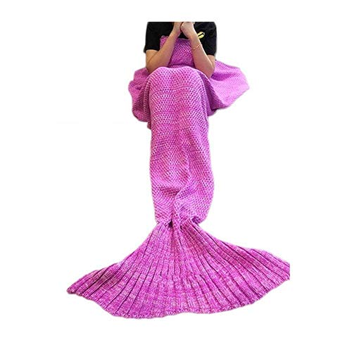 Mermaid Tail Blanket Crochet for adult,SMEAMUS Knitted Sleeping Bag Sofa Mermaid Tail Bed Throw Blanket Super Soft All Seasons Sleeping Blankets 70x35.5 for Valentines Day Gift (Purple pink)