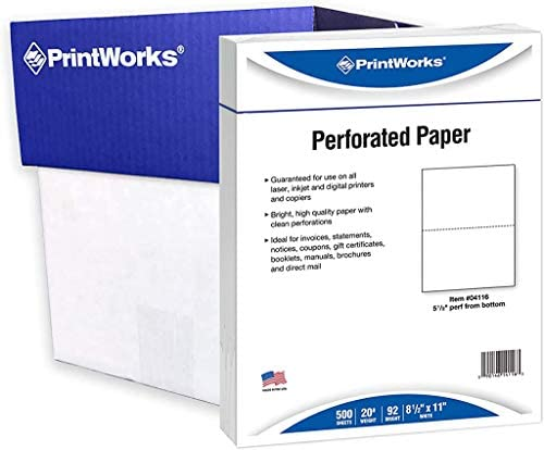 PrintWorks Half Sheet Perforated Paper, 8.5 x 11, 20 lb, 2500 Sheets, White (04116C)