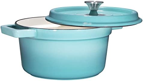 Bruntmor, Enameled Cast Iron Dutch Oven Casserole Dish 6.5 quart Large Loop Handles Self-Basting Condensation Ridges On Lid Turquoise