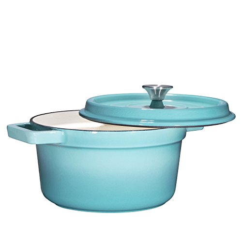 Turquoise Lid (Bruntmor, Enameled Cast Iron Dutch Oven Casserole Dish 6.5 quart Large Loop Handles & Self-Basting Condensation Ridges On Lid (Turquoise))