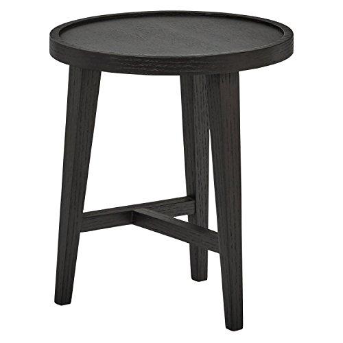 Rivet Mid-Century Modern Round Black Wood Nesting Side End Table, 15.7