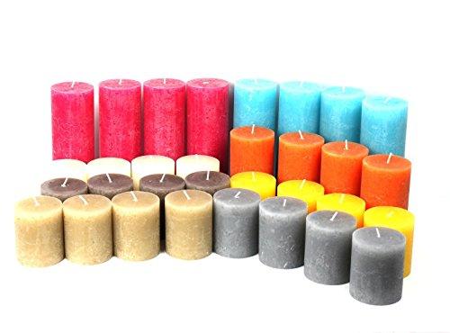 12 kg / 32 Stück Rustik-Stumpen-Kerzen, Rustic, Stumpenkerzen, Kerzen, Kerze, Rustik,Rustikkerzen, Stumpenkerze, Teelicht, 1. Wahl,