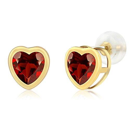 1.80 Ct Heart Shape Red Garnet 10k Yellow Gold bezel Stud Earrings 6mm