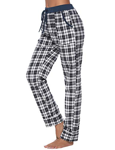 iClosam Women's Pajama Bottoms 100% Cotton Sleepwear Check PJS Lounge Pants Trousers(S-XXL) Navy Blue - Navy Plaid Flannel Pajama