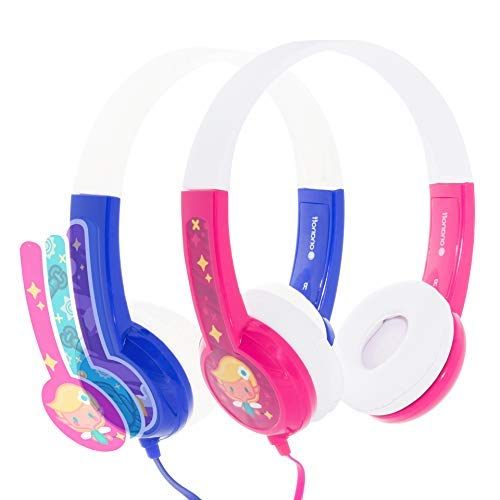 Kids Headphones by onanoff | Kids Safe Volume Limiting Headphones |Built in Headphone Splitter for Audio Sharing | Ideal for iPad, Fire and All Smartphones or Tablets | Pink and Blue (Splitter Tangle)