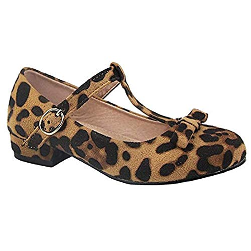 (Anna Kate-5K Kids Low Heel Ankle Strap Bow T-Strap Mary-Jane Shinny Pu,Leopard,11)
