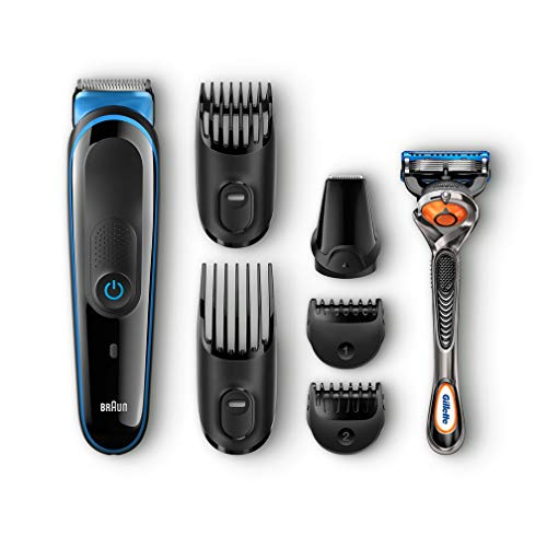 Braun Multi Grooming Kit MGK3045 - 7-in-1 Precision Trimmer for Beard and Hair Styling + Gillette Fusion ProGlide Razor Black/Blue, 2 pin plug