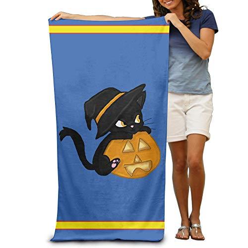 (Bath Towel Microfiber BAGT, Halloween Wizard Cat Adults Cotton Beach Towel 31