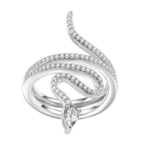 Pave Snake - KIVN Fashion Jewelry Snake Delicate Pave CZ Cubic Zirconia Engagement Rings for Women (White, 7)