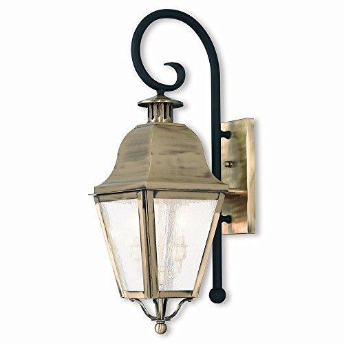 Livex Lighting 2551-01 Amwell 2 Light AB Outdoor Wall Lantern, Antique Brass