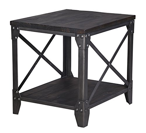 - Magnussen T4044-03 T4044 Milford Transitional Rustic Rectangular End Table in Weathered Charcoal