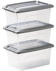 Save on IRIS OHYAMA,3er-Set stapelbare Aufbewahrungsboxen / Kisten / Stapelboxen,mit Klickverschluss, Plastik, transparenter Deckel, 5 L, and more