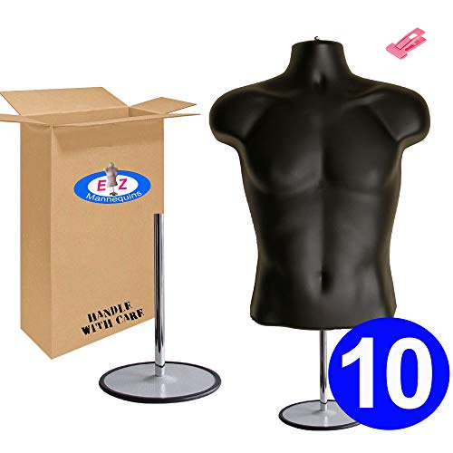 10-Pack Male Mannequin Torso, Dress Form Hollow Back Body Tshirt Display, w/Stand for Counter by EZ-Mannequins for Craft Shows, Photos or Design, Easy to Assemble and Store, S-M Clothing Sizes, Black. by EZ-Mannequins (Image #7)