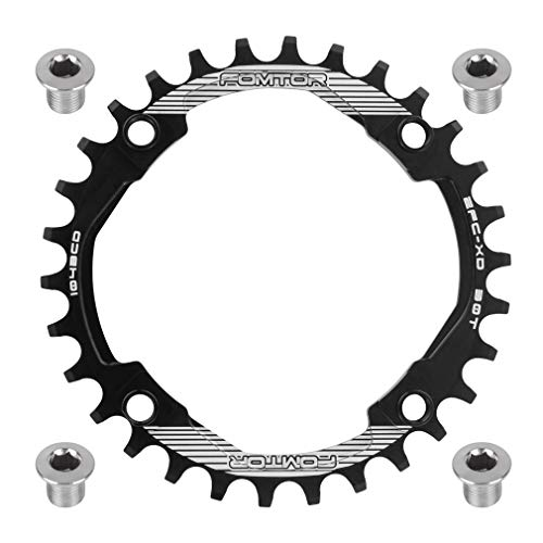 FOMTOR 30T 32T 34T 36T 38T Chainring 104 BCD Narrow Wide Chainring with Four Chainring Bolts for Road Bike, Mountain Bike, BMX MTB Bike (Black)