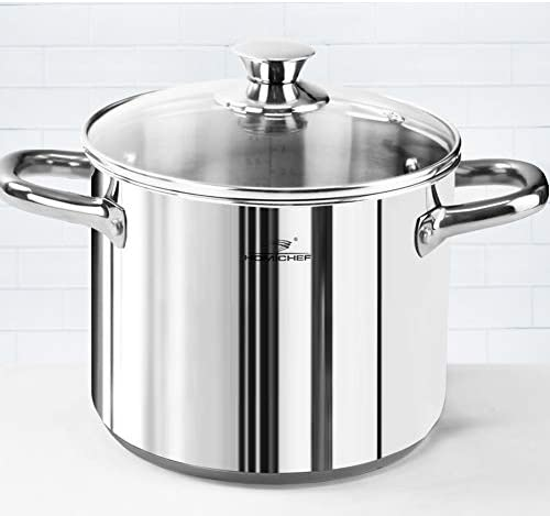 HOMI CHEF LARGE HEAVY ECOLOGICAL NICKEL FREE Stainless Steel Stock Pot 8qt w Lid No Toxic Non Stick Coating, 5LBS – Induction Pot 8 Quart Cooking Pot and Canning Pot with Lid