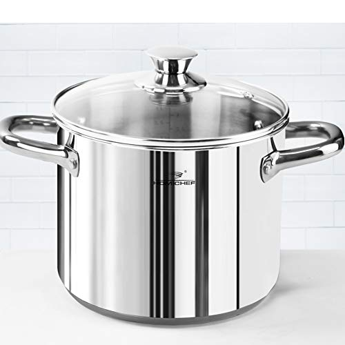 HOMI CHEF LARGE HEAVY ECOLOGICAL NICKEL FREE Stainless Steel Stock Pot 8qt w/Lid (No Toxic Non Stick Coating, 2.5LBS) - Induction Pot 8 Quart Cooking Pot and Canning Pot with Lid