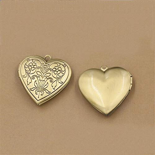 Plated Metal Copper Heart Shape Flowers Locket Pendant for Jewelry (20 Pcs 20Mm 4 Colors) (Antique Bronze ()
