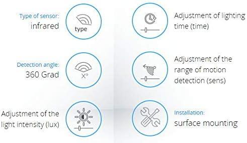 Reichweite 16m einstellbar Aufputz Infrarot Bewegungsmelder 360/° 230V mit D/ämmerungssensor LED geeignet ab 1W-2000W