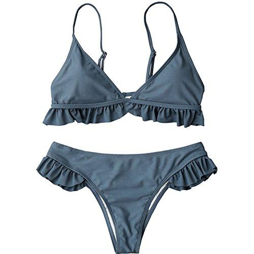 (Dragon Honor Women's Fashion Sexy Dutch Bikini Suit Two-Piece Style with Chest Pad Swimsuit Beachwear(S, Blue))