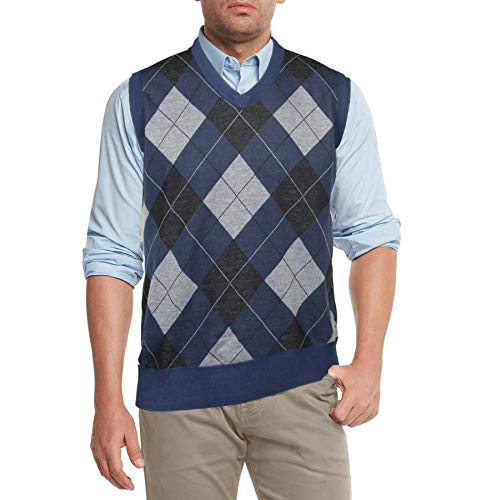 True Rock Men's Argyle V-Neck Sweater Vest (Grey/Charcoal/Blue, Large)