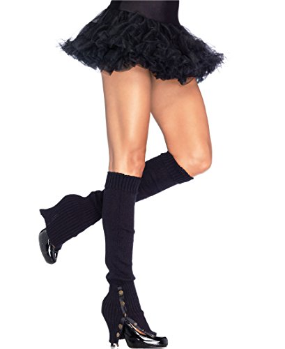 Leg Avenue 3901 Women's Leg Warmers With Button Side - One Size - Black (Leg Warmers With Button Side)