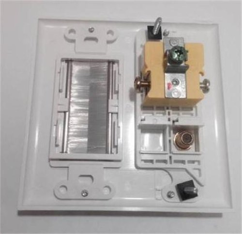 CERTICABLE CUSTOM WHITE DOUBLE GANG WALL PLATE- AC 15A 110V POWER OUTLET + COAX CABLE TV + MESH GROMMET FEEDTHROUGH