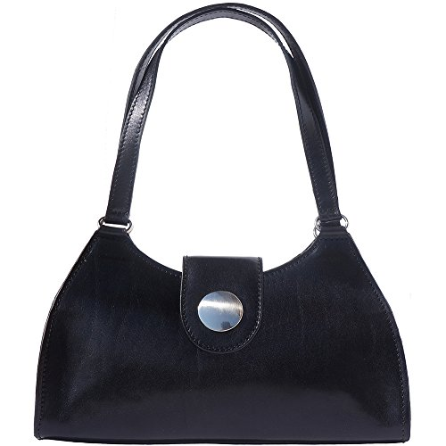 With Handle Of Genuine Made Leather Calf Black Handbag 6415 Double Classic pq4a5x