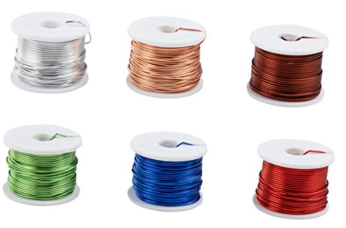 Aluminum Wire - 6-Roll Metal Wire for Industrial Use, Jewelry Making, Beading, DIY Art Craft Projects, 18 AWG, 75 Feet Each, 6 Colors