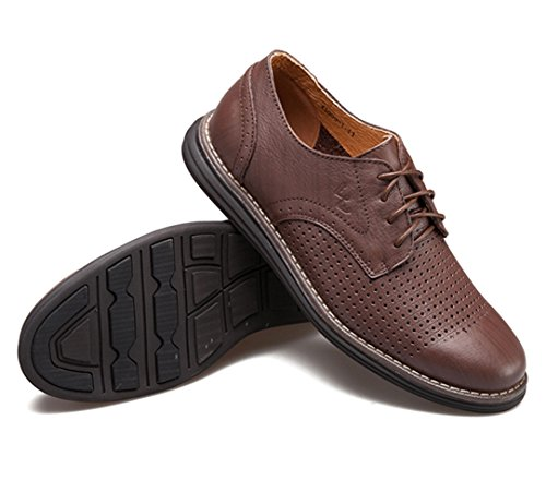 Men's Leather Casual Walking Shoes - Perfect for Outdoor Activities and Semiformal Occassions 539-38DBr by HUMGFENG (Image #3)