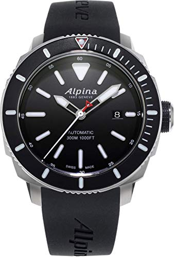 Alpina Seastrong Diver 300 Black Dial Rubber Strap Men's Watch ()