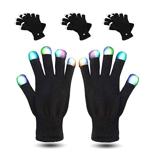 MUCH LED Gloves 3 Packs Party Light Show Gloves- 7 Light Flashing Modes. The Best Gloving & Lightshow Dancing Gloves for Christmas, Clubbing, Rave, Birthday, EDM, Disco, and Dubstep Party