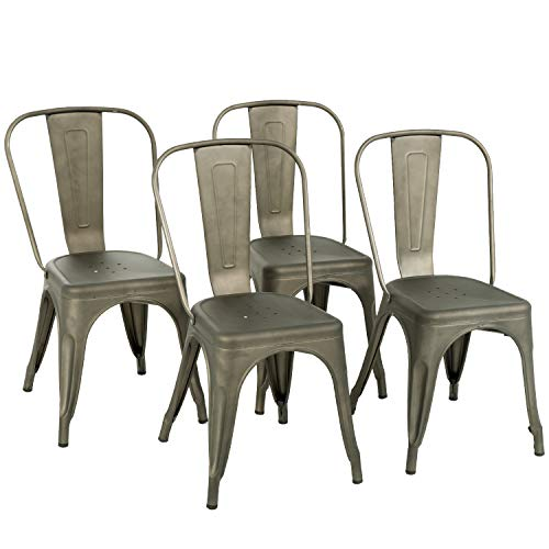 Metal Dining Chairs Set of 4 Stackable Metal Chairs Room Chair Vintage Patio Chair with Back 18 Inches Seat Height Kitchen Chair Tolix Restaurant Chairs Stackable Trattoria Indoor Outdoor Chair (Gun)
