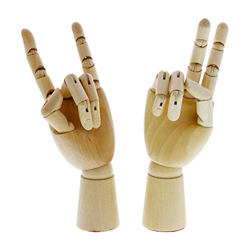 Alikeke Wooden Hand Model Flexible Moveable Fingers Manikin Hand Figure Both Left and Right Hand for Sketching Drawing Home Office Desk Posable Joints Kids Children Toys Gift 10 INCH by Alikeke (Image #3)