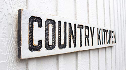 """Country Kitchen Sign - Carved in a 55""""x8"""" Solid Wood Board Rustic Distressed Shop Farmhouse Style Wooden Gift"""