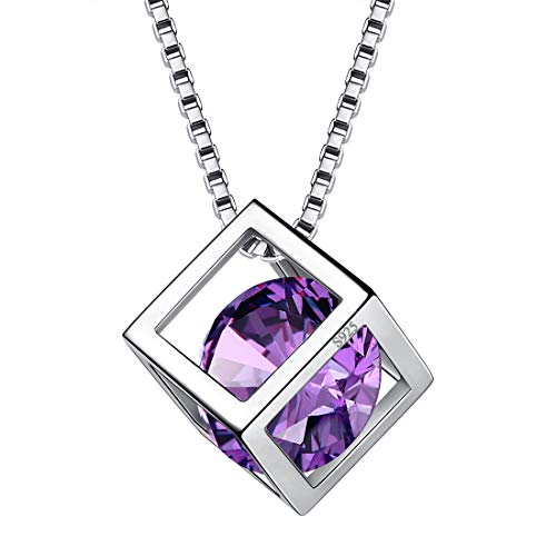 (Aurora Tears February Birthstone Necklaces Women 925 Sterling Silver Crystal 3D Cube Feb. Birth Stone Pendant Cubic Zirconia Birthday Pendant Girls Charm Dating Gift Jewelry)