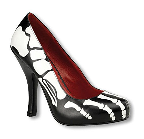 Horror-Shop Black skeleton Pumps with bone motif UK 5 US 7 2QGR3o