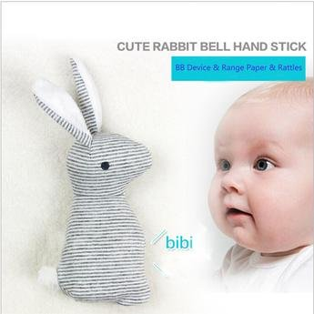 Cute, Super Soft Rabbit Toy with Rattle Bell – Durable and Adorable Plush Baby Toy - Fun for Baby to Touch, Encourages Them to Explore – Ideal Gift for Your Newborn Kid – A Lightweight and Very Conven by chanys