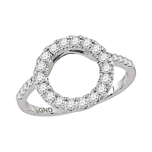 Jewels By Lux 14kt White Gold Womens Round Diamond Circle Halo Wrap Ring Guard Enhancer 1/2 Cttw In Pave Setting (I2-I3 clarity; I-J color) Ring Size - Ring Diamond Circle