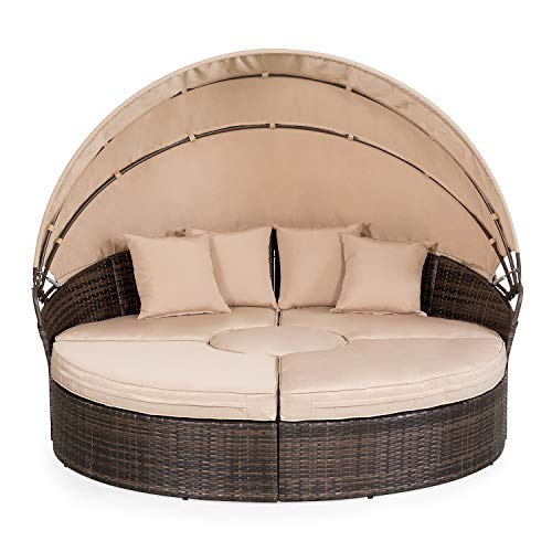 Cheap  Suncrown Outdoor Furniture Wicker Daybed with Retractable Canopy | Clamshell Seating Separates..