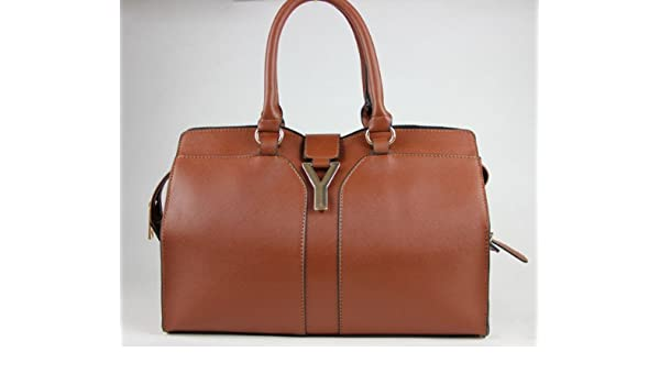 Amazon.com   YSL Yves Saint Laurent Cabas Chyc Mini Brown Leather Crossbody Tote  Bag   Cosmetic Tote Bags   Beauty 797c4726b2501