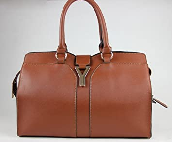224432e95c66 Amazon.com   YSL Yves Saint Laurent Cabas Chyc Mini Brown Leather Crossbody  Tote Bag   Cosmetic Tote Bags   Beauty