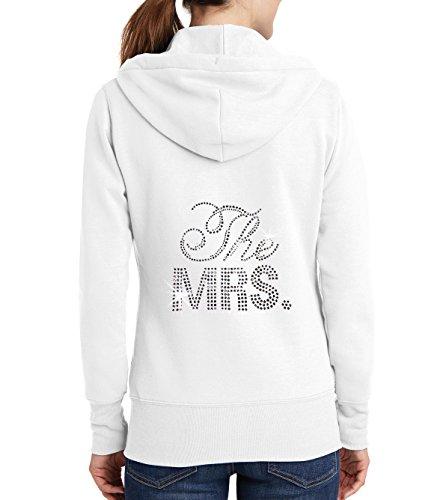 - Classy Bride The Mrs. Rhinestone Bridal Hoodie - White (L (12-14))