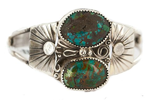 Certified Authentic .925 Sterling Silver Navajo Handmade Natural Spiderweb Turquoise Native American Bracelet ()