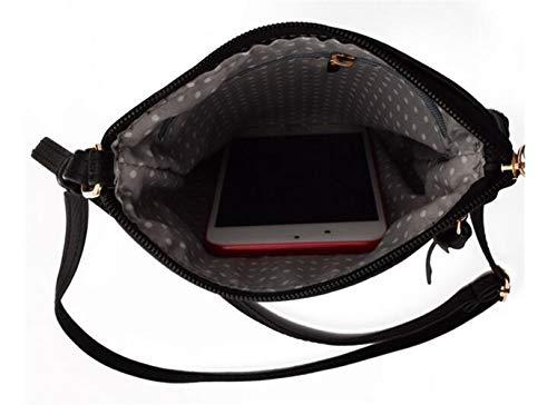 FairyBridal Triple Zipper Mutil-Pocket Leather Messenger Bag for Women,Crossbody Bag 5 Colors Satchel Purse (black(pu leather)) by FairyBridal (Image #3)
