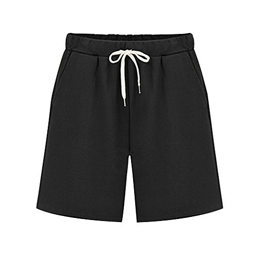 Women's Elastic Waist Soft Knit Jersey Bermuda Shorts with Drawstring Black Tag 5XL-US 16