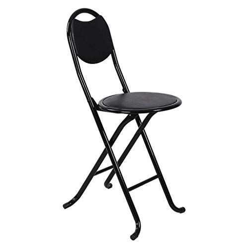 - MCLY Shower Seats, PU Leather Stool Portable Folding Round Shower Stool/Elderly/Disabled/Pregnant Women/Home Simple Stool (Color : Black)