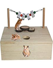 Tfwadmx Wooden Multi-Chamber Hamster House Maze Multi-Room Hideouts Tunnel Exploring Toys Small Animal Activity Playground for Hamster Gerbils Mice Lemmings (6-Room Large)