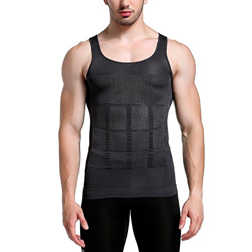 GKVK Mens Slimming Body Shaper Vest Shirt Abs Abdomen Slim, Gray, XXL(chest size 116cm-120cm/46inches-48inches)