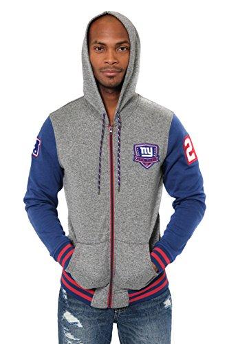 Nfl Jersey Design - ICER Brands Adult Men Full Zip Fleece Hoodie Letterman Varsity Jacket, Team Color, Blue, X-Large
