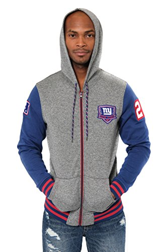 Icer Brands NFL New York Giants Men's Full Zip Fleece Hoodie Letterman Varsity Jacket, X-Large, Blue ()